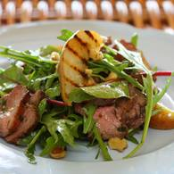 Duck_salad_with_grilled_pear_rocket_and_red_wine_vinaigrette
