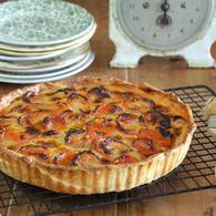 Dried apricot tart with verjuice and honey
