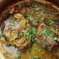 Braised beef cheeks in verjuice and mustard marinade
