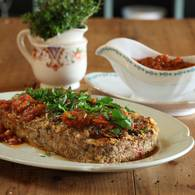 Meatloaf with tomato and basil sugo