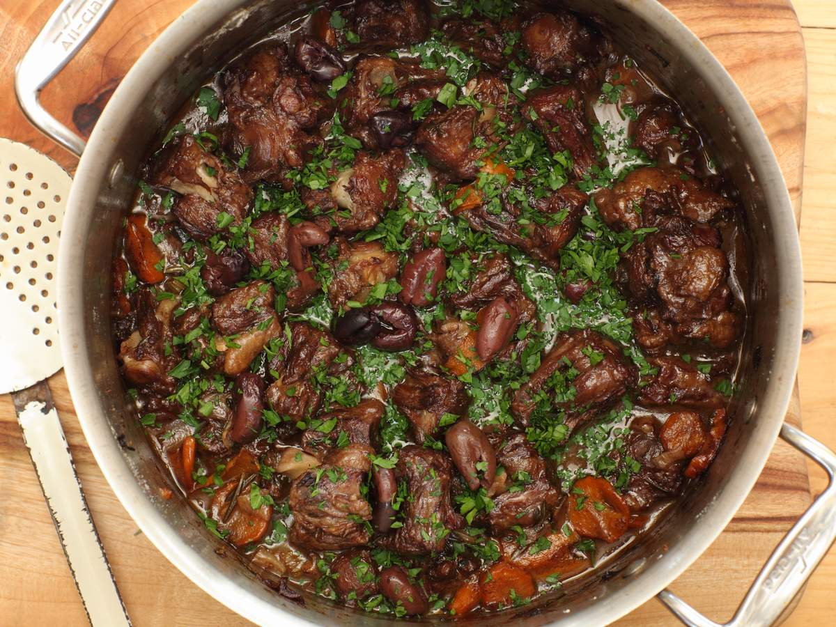 Oxtail with orange olives and walnuts