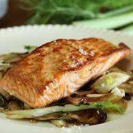 Pan fried salmon with fennel
