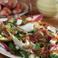 Raw pear and pancetta salad