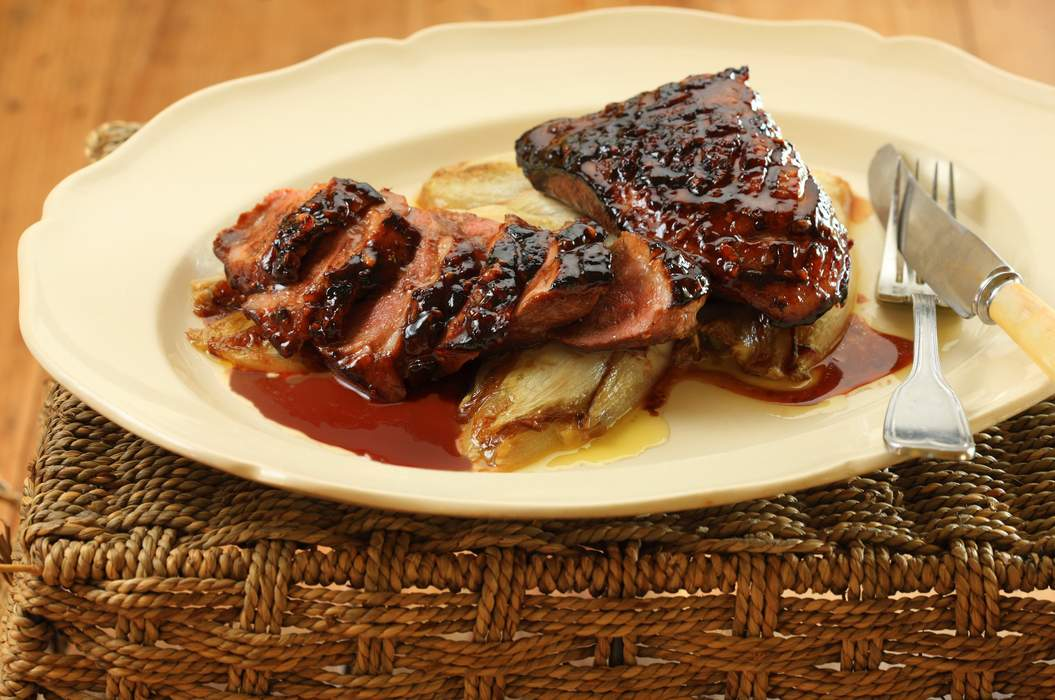 Duck breast with plum glaze