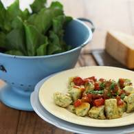 Spinach and ricotta gnocchi with tomato and chilli sugo