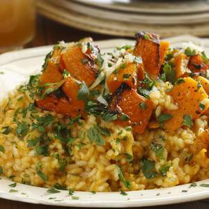 Pumpkin verjuice and extra virgin olive oil risotto