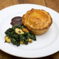 Coorong angus and red wine pie with cavolo nero and quince 2