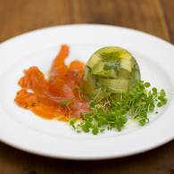 Avocado and verjuice jelly with gravalax ocean trout 1