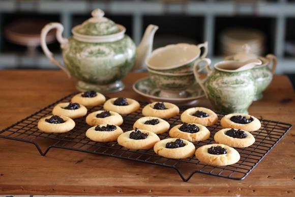 Jam drop biscuits with burnt fig jam
