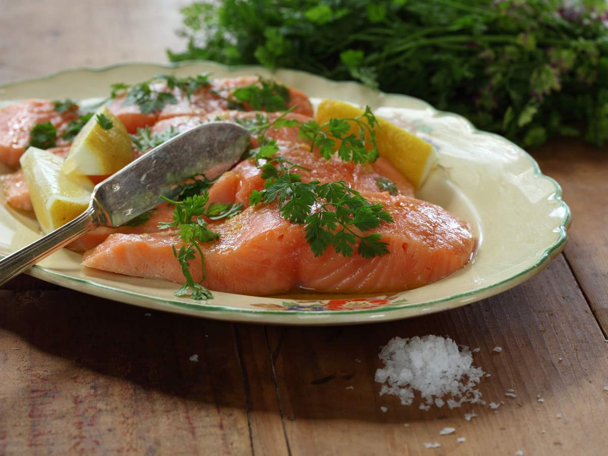 Salmon poached in olive oil 26