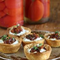 Goats cheese tarts preserved lemon and currant chutney 2501