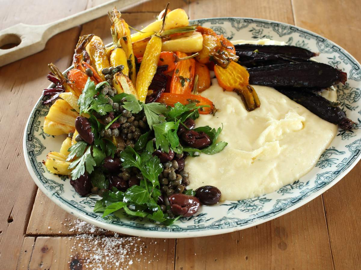 Mascarpone white polenta with heirloom vegetables and caper olive salad 02