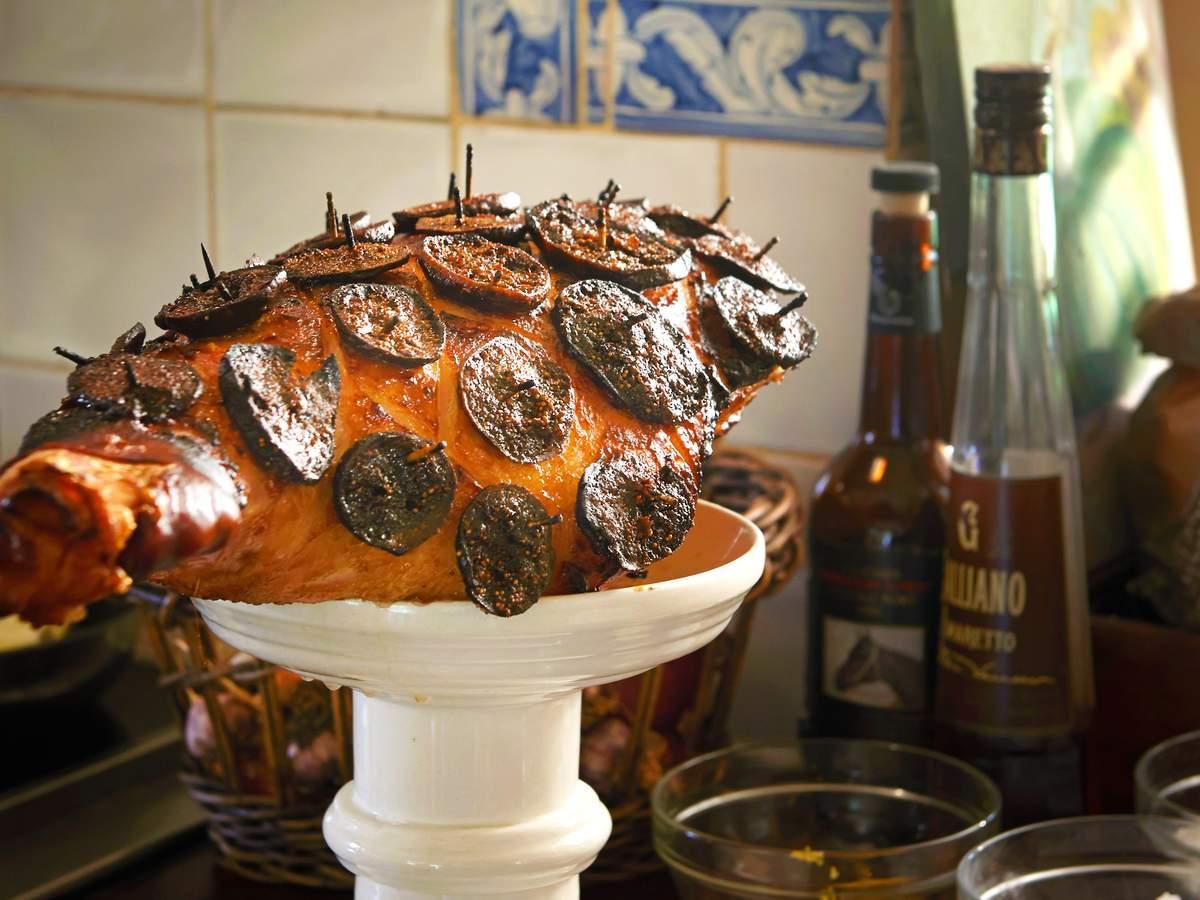 Pickled fig glazed ham
