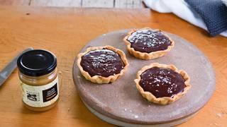 Chocolate and salted caramel tarts