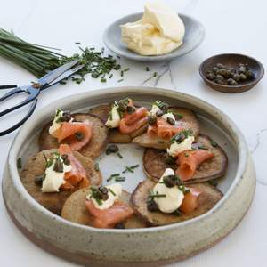 Buckwheat pancakes with smoked salmon capers 2