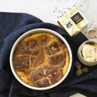 Quince hot cross buns bread and butter pudding