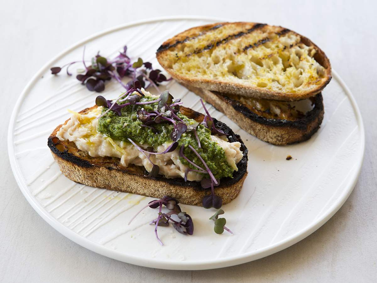 White bean crostini with agresto