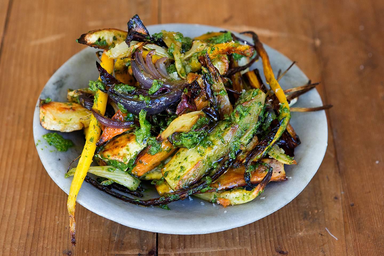 Roasted Winter Root Vegetables with Salsa Verde - Maggie Beer