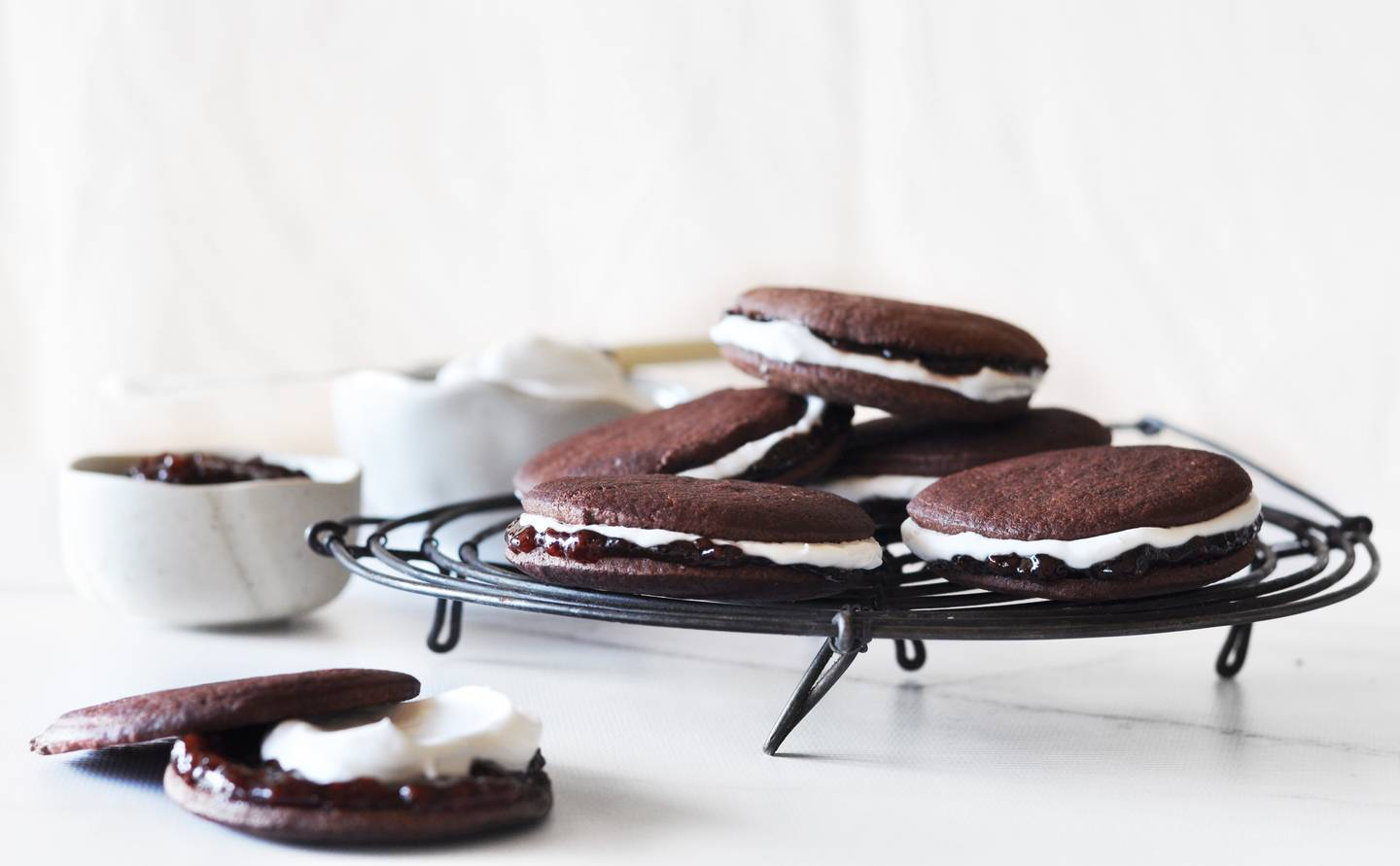 Chocolate jam and coconut biscuits 1
