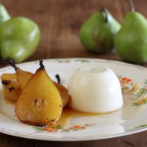 Verjuice panna cotta with verjuice roasted pears