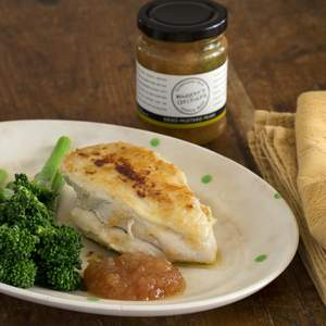 Poached buttermilk chicken breast with mustrad pears and broccolini  2  approved