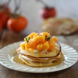 Quinoa pancakes with persimmon and creme fraiche 1