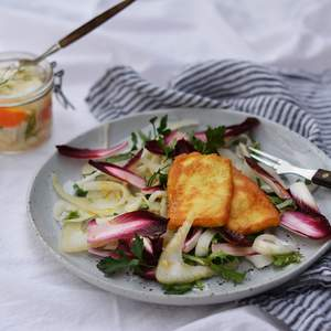 Verjuice pickled fennel with grilled haloumi 2