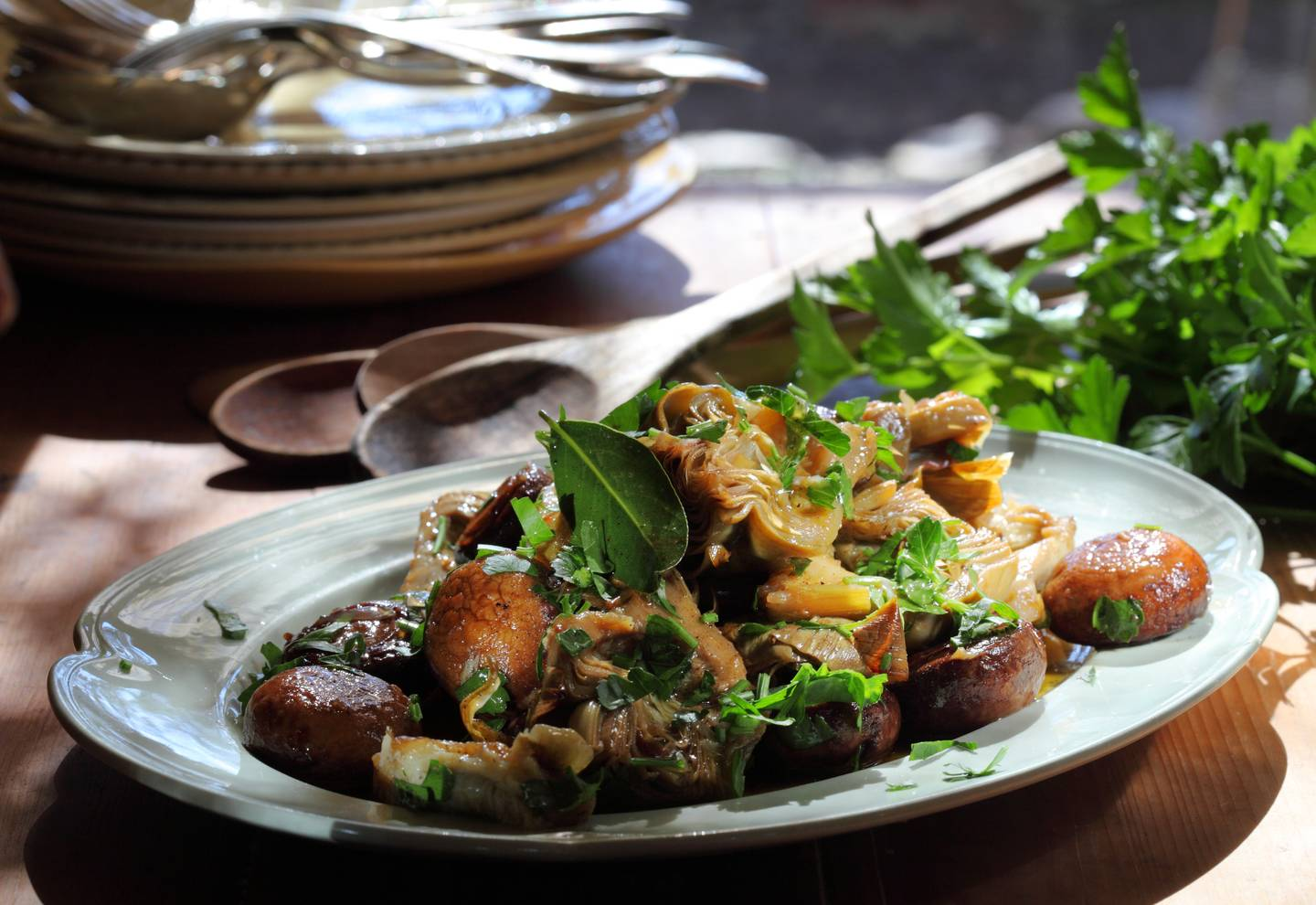 Artichokes and mushrooms braised in verjuice and extra virgin olive oil
