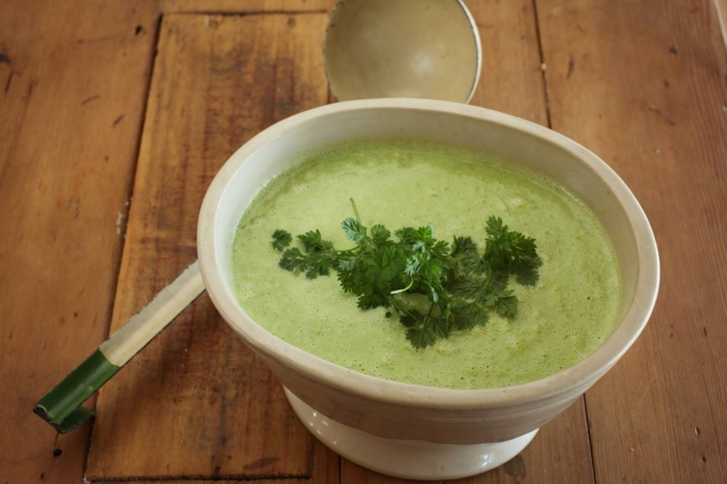 Fresh pea and buttermilk soup