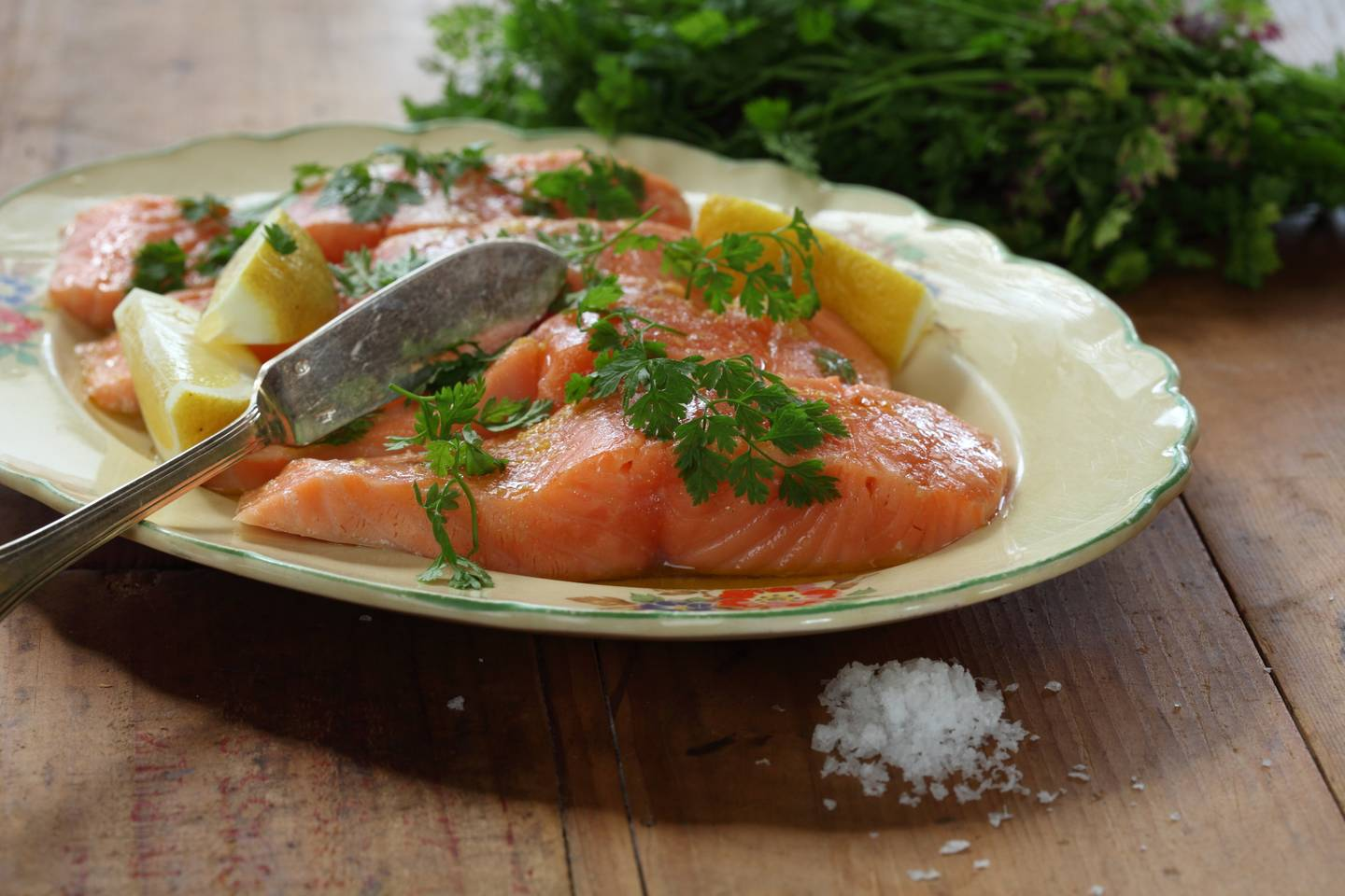 Salmon poached in extra virgin olive oil maggie beer for Frying fish in olive oil