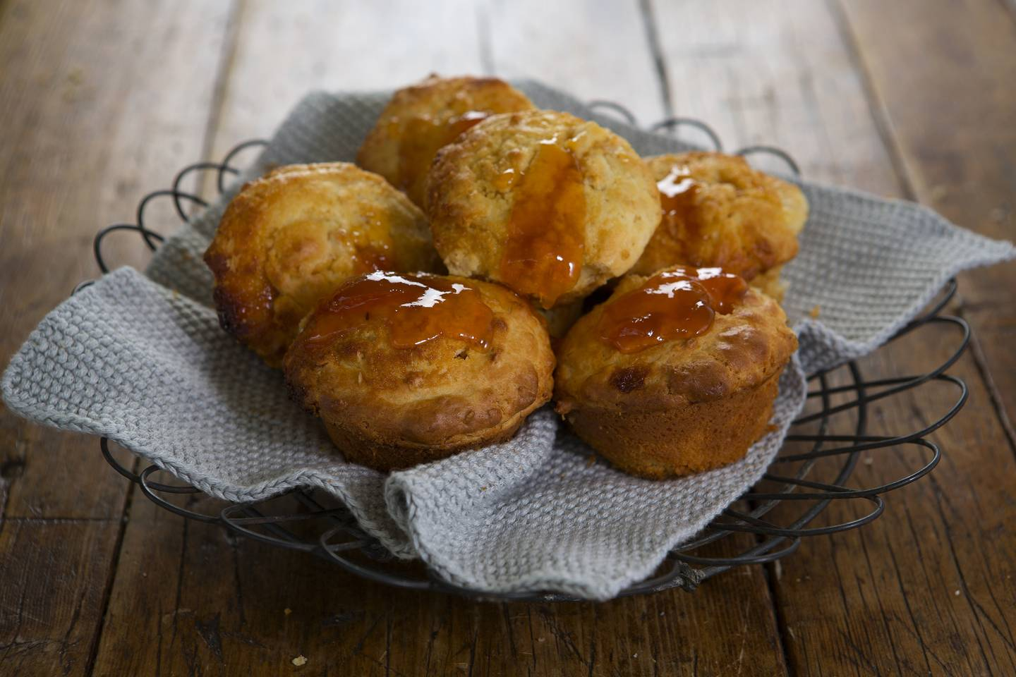 Apricot jam oat and yoghurt muffins