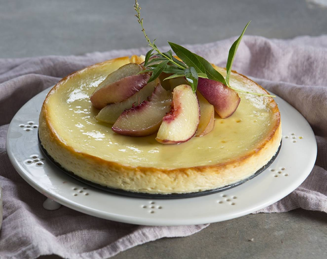 Ricotta Cheesecake with Grilled White Nectarines - Maggie Beer