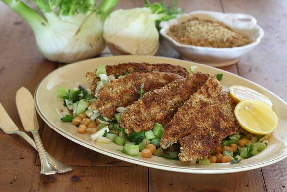 Dukkah coated garfish with chickpeas fennel and parsley salad
