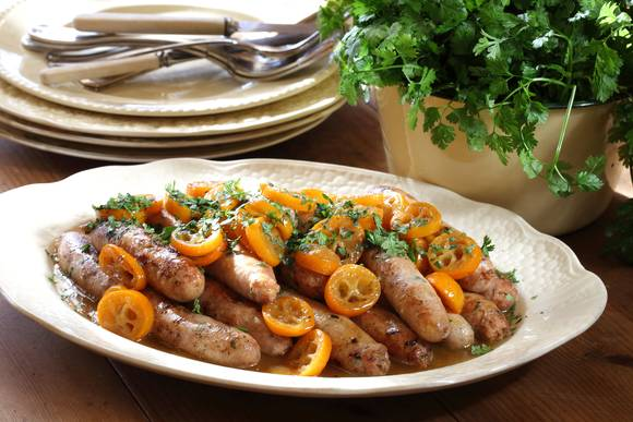 Chicken and tarragon sausages with cumquats