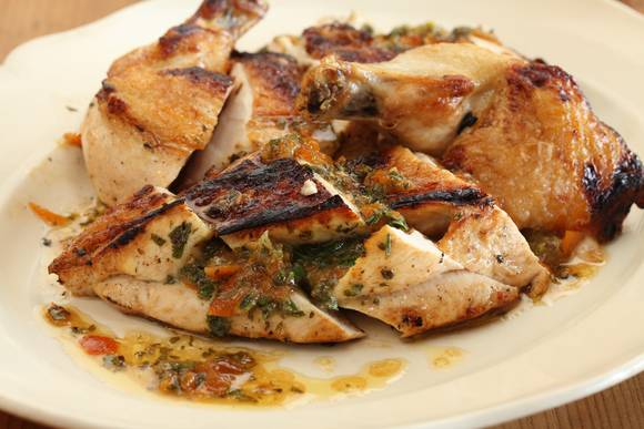 Chicken breast with cumquat and verjuice stuffing