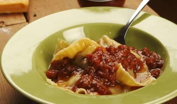 Mushroom ravioli with tomato and chilli sugo