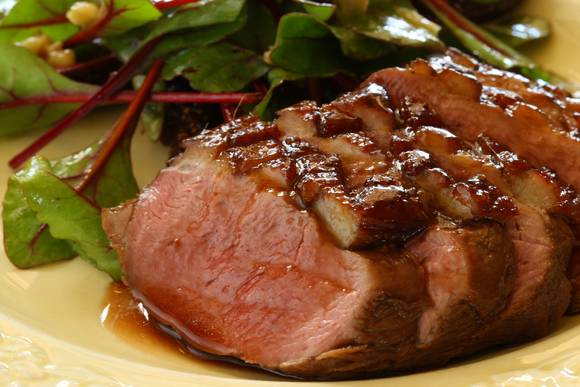 Cabernet jelly glazed duck breast