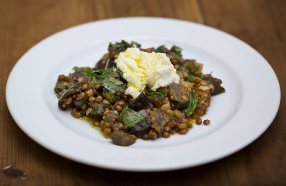 Moroccan eggplant and lentils with pomegranate and ricotta 1