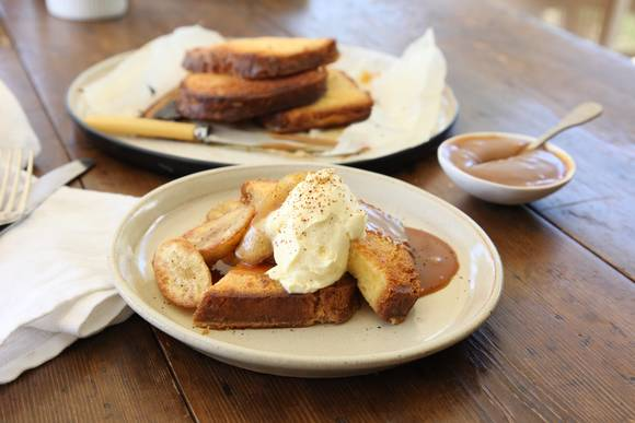 Brioche french toast with brandy caramel and bananas 2 approved