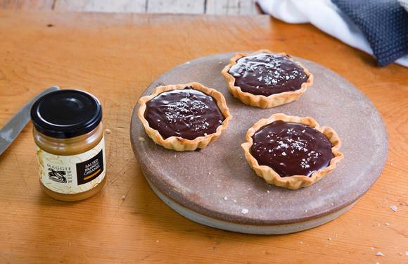 Chocolate and salted caramel tarts