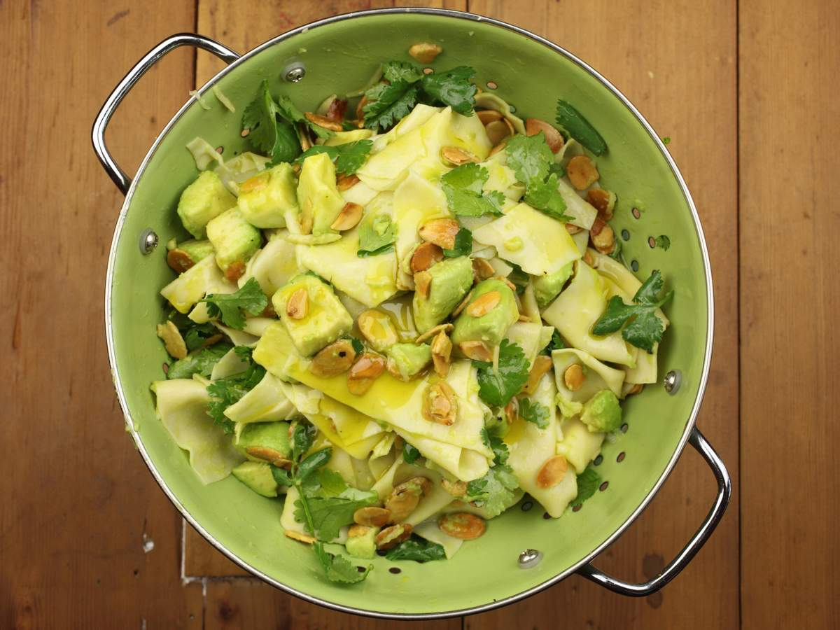 Avocado ginger and almond pasta with coriander