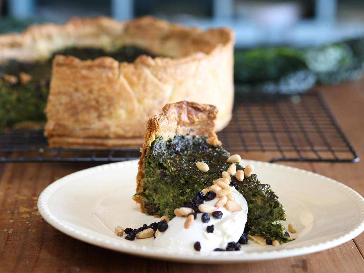 Kale  preserved lemon and pine nut tart