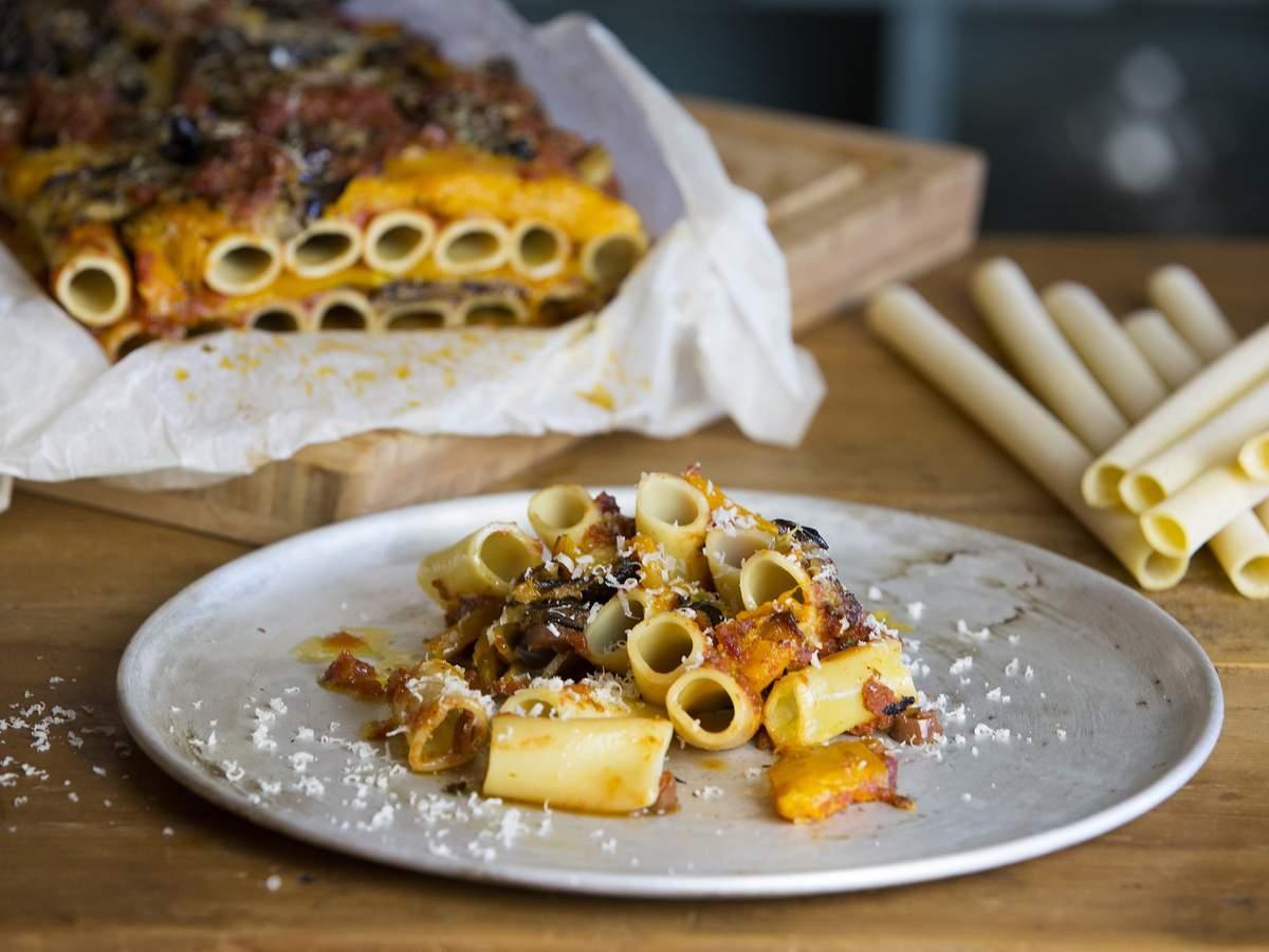 Olive pasta bake shot