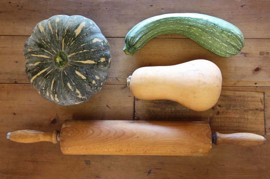 Rolling pin pumpkin zucchini