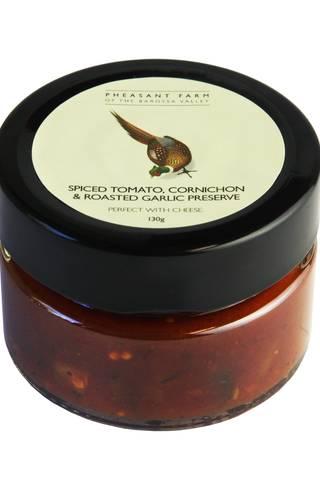 Spiced tomoato cornichon preserve