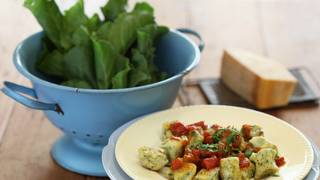 Spinach and ricotta gnocchi with tomato and chilli sugo