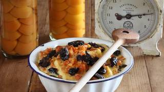 Apricot and prune bread and butter pudding