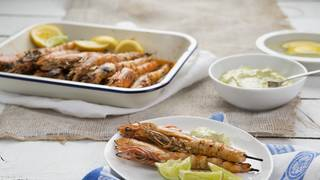 Barbecued lemon myrtle prawns with sorrel mayonnaise 1
