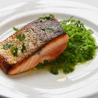 Crispy skin salmon with pea puree