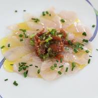 Sashimi of kingfish with umeboshi and vino cotto